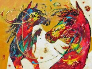 Together Again © 28 x 24 acrylic/mixed media